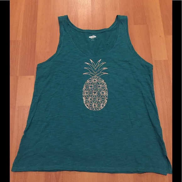 Old navy Teal and Gold pineapple tank top